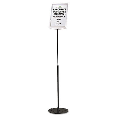 "Sherpa Infobase Sign Stand, Acrylic/Metal, 40""-60"" High, Gray 558957"