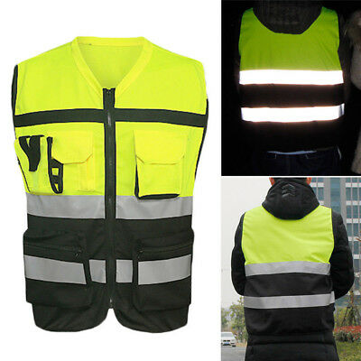 Pockets Safety Vest Bright Reflective Strips Construction Traffic Cycling Supply