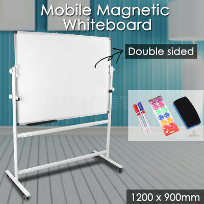 Magnetic Mobile Whiteboard Double Sided Stand White Board 1200X900mm Office Home