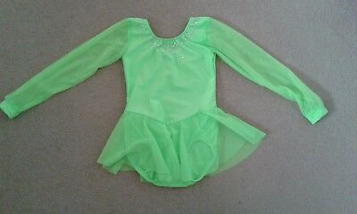 New ice-skating dress gymnastics twirling age 3-6 years lime green with crystals