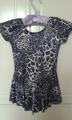 New ice-skating dress, animal print with crystal detailing age 4-7 years