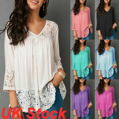 UK Womens Lace V-Neck Casual T-Shirt Ladies Summer Loose Tops Blouse Size 6 - 24