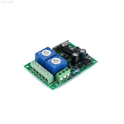 220V 433MHz 2CH Wireless RF Relay Remote Control Switch Receiver Module Green