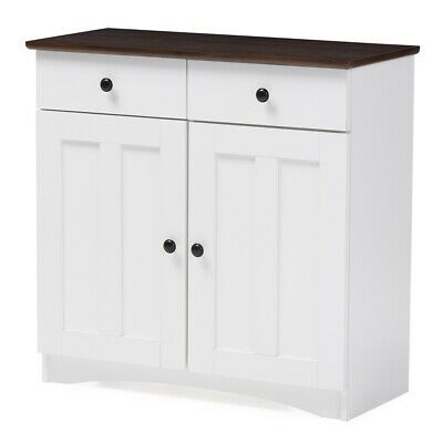 White and Dark Brown Buffet Kitchen Cabinet with Two Doors and Two Drawers