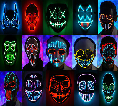 LED Face Mask 3 Adult Kids Light Up Halloween Mask The Purge Movie Rave Party UK