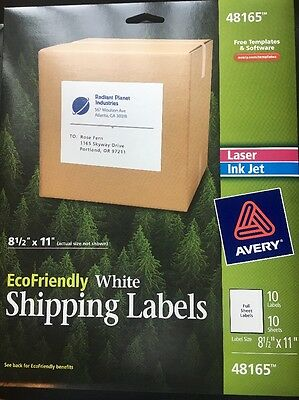 """Avery Ecofriendly white Shipping Labels-10 Labels-8-1/2"""" x 11"""" #48165"""