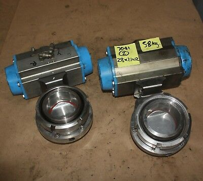 "DIN DN65 2.5"" Stainless food grade butterfly Valve VALBIA Pneumatic Actuator"