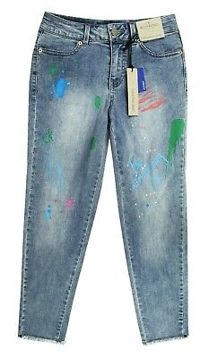 New Kids Girls Calvin Klein Jeans Boyfriend Vintage Painted Stretch Blue Jeans 7