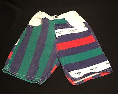 Vtg 90s Guess Shorts Iconic Stripes Youth Boy Girl 6Y 6 Red Blue Green Multi