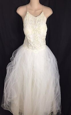 Vtg 80s Jessica Mcclintock Bridal Off White Wedding Prom Dress Women's 8 Small