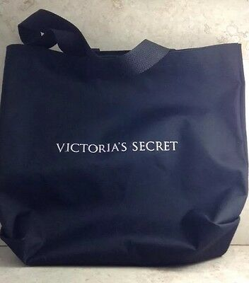 Victoria Secret Heavy Canvas Black Shopper Tote Gold Embroidered Logo 14""