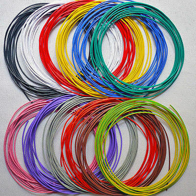 30AWG OD_1.1mm UL1007 PVC Tinned Copper Stranded Wire Cable Cord 300V 2M/10M