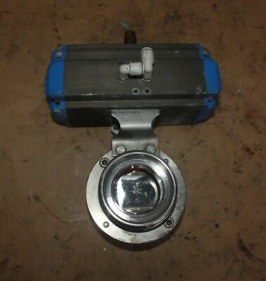 "DIN DN50 50mm 2"" Stainless food grade butterfly Valve VALBIA Pneumatic Actuator"