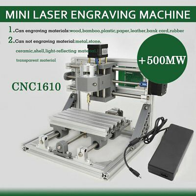 3 Axis Router Mini Wood Carving machine CNC1610 Pcb Milling 500MW Laser Head B2