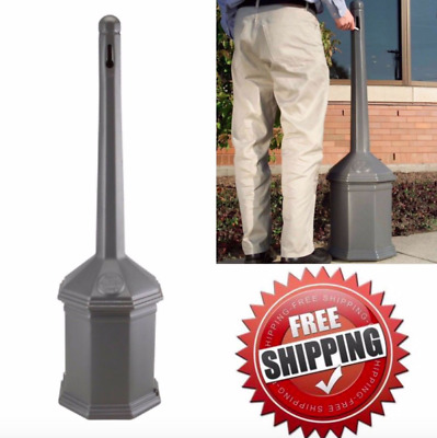 Cigarette Disposal Container Trash Can Butt Outdoor Bin Ashtray Receptacle Gray