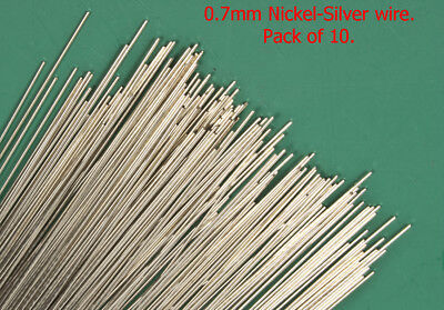 10 X 0.7mm diameter Nickel-Silver modellers wire. 300mm long
