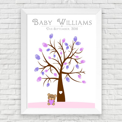Baby Shower Personalised Girls Teddy Bear Finger Print Tree / Baby Shower Game