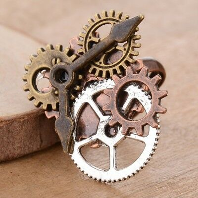 Handmade Punk Vintage Steampunk Watch Movement Gear Ring Adjustable Bronze Rings