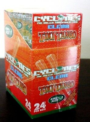 Cyclone Clear Tiki Tango King Size Pre Rolled Cone~24 Count~Sealed Box