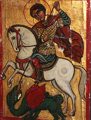 Hand Painted Tempera/ Wood Icon Saint George And Dragon