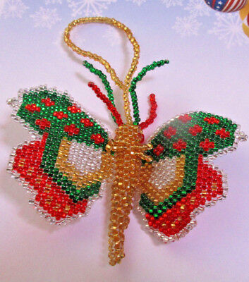 """Miniature Hand Beaded"""" BUTTERFLY """"SEED BEAD Christmas Ornament 3""""  WING SPAN."""