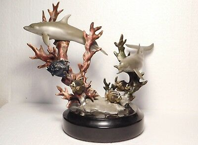 Kitty Cantrell painted bronze sculpture of dolphins and fishes, limited edition