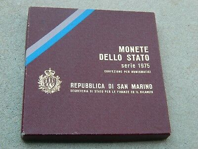 1975 Republic Of San Marino 8 Coin Mint Set With Silver 500 Lire
