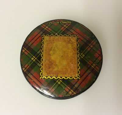 Mauchline Ware 'Prince Charlie' Tartan Stamp Box with Penny Red