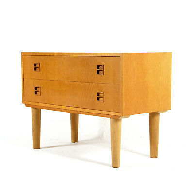 Retro Vintage Danish Modern Design Oak Low Small Chest of Drawers 60s 70s