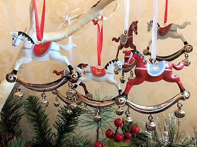 Set of 6 Metal Rocking Horse Christmas Tree Decorations Vintage Retro Style