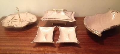 6 piece set of pink and gold  1950s serving dishes...ext  California pottery USA