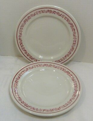 """Buffalo China KENMORE 2 Red Floral Dinner Plates Restaurant Ware 8 3/4"""""""