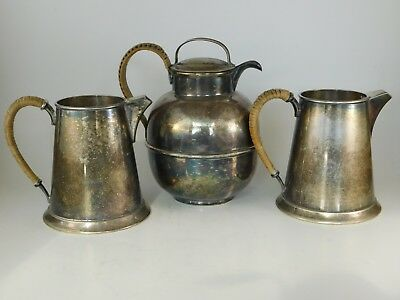1920's Antique Silver plate Rattan Teapot & two Creamers. 3 pieces in all. EGW&S