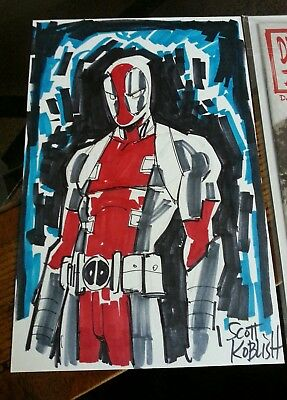 deadpool original art commissioned sketch and autographed comic scott koblish.
