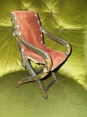 Very Rare Antique 19Th C American Folk Art Miniature Gilded Wooden Folding Chair