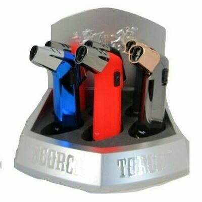 Orange Silver Scorch Torch Lighter Double Jet Flame Windproof Gas Refillable