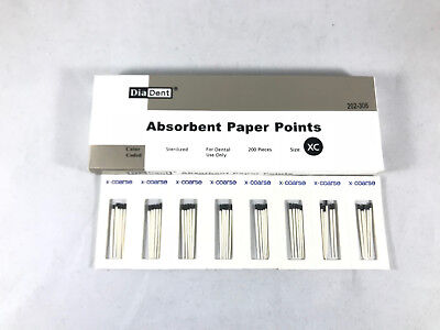 Absorbent Paper Points Sterilized Color Coded 200/Pack Cell Pack DIADENT