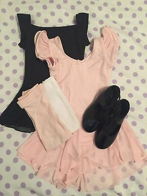 Little Girl Capezio Dance Lot ~ Leotards Tap Shoes (sz 10.5) Tights ~Small (4-5)
