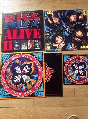 Vintage Lot Of 3 Kiss Vinyl Records LP In Great Condition W/ Sleeves & Sticker