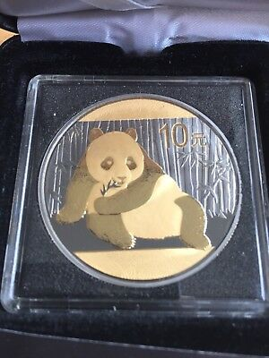 2015 1 oz .999 silver. Black Ruthenium Gold Gilded Panda coin with box and COA