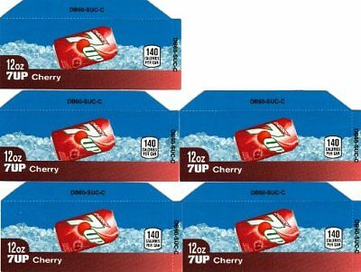 7-Up Cherry Labels 5 Small 12 oz Can Soda Vending Machine Calories Flavor Labels