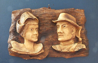 Antique Vintage Wooden Wall Plaque Picture Figure,Black Forest, Alpine Art