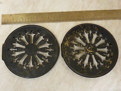 2 Antique French Clock Pierced Brass Back Doors (Z)