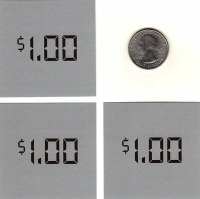 1.00 Dixie-Narco Soda Vending Machine Set of 3 One Dollar Price Labels As Shown