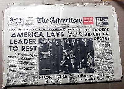 1963 The Advertiser~ Adelaide ~ 'america Lays Leader To Rest' ~ Full Newspaper