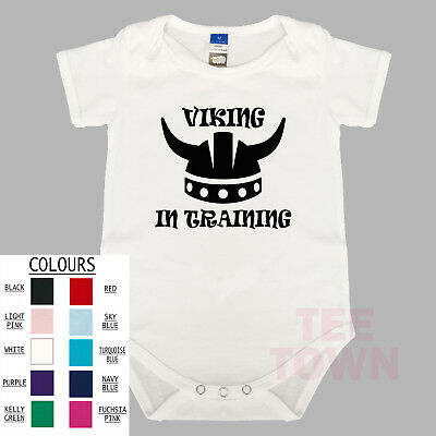 Viking In Training. Funny. BabyGrow. Baby Romper. Cute Baby Suit.