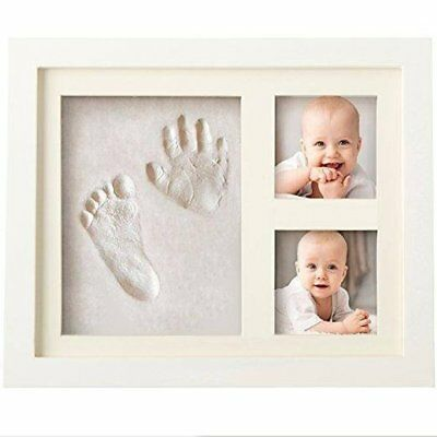 White Wooden Photo Frame With Clay For Baby Hand Prints And Foot Prints