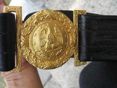 US Navy Officer's Leather Sword Belt & Buckle, Hilborn-Hamburger, WWII vintage