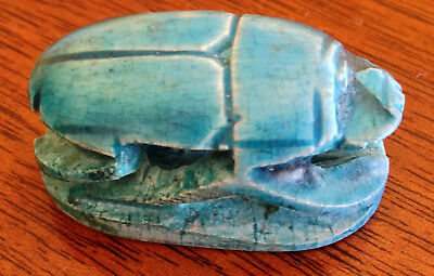 Ceramic Scarab Beetle Bead Sky Blue Egyptian Signed in Hieroglyphics 1.75""