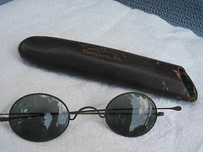 Vintage  Eyeglasses Antique Wire Tinted Lenses with old case VERY OLD RARE
